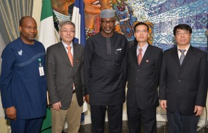 3rd Left. Cross River State Governor, Sen. Liyel Imoke with (1st left) General Manager, Calabar Free Trade Zone, Alhaji Sadiq Kazeem,  and (2nd left) Mr. Xie Shao, Chairman,Trade Delegations from the Jiangsu Economic and Information Technology Commission in the Jiangsu Province China With them, MD, Skyrun FTZ-Calabar, Mr. Wafu Qiang (2nd right) and his Gen. Manager. Mr. Cai Biao, after a courtesy call on the Governor in his office in Calabar, today