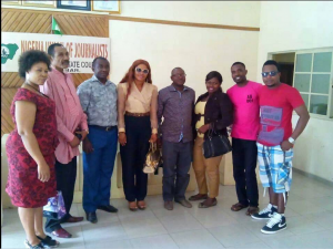 NUJ Cross River Chairman, Pastor Ndoma Akpet (5th from right) and executive members of the AGN, Cross River chapter in a group photo after the courtesy visit