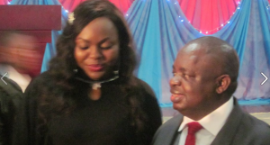 Abi LG Boss, Edith Amadi (left) and COS, Alex Egbona (right) at the reception yesterday in Calabar