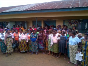 Bakassi women in a group photograph with some of the pregnant women in front row