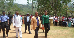 Abubakar Ewah, Chairman, Boki LGA and wife (in front) arriving the venue of the inauguration yesterday