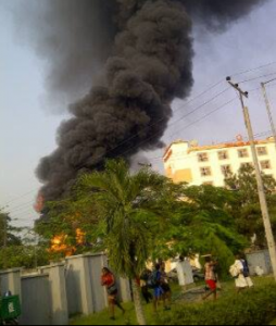 Transcorp Metro Hotel gas station on fire