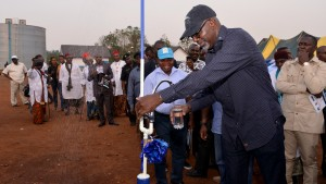 Cross River State Governor, Senator Liyel Imoke at the commissioning of the N5.5billion Ikom water scheme. With him is the Chairman of Ikom Local Government Council, Mr. Ebam Emanghe at the ceremony yesterday