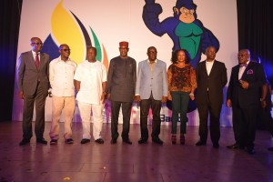 Governor Liyel Imoke (4th from left) flanked by his Deputy, Efiok Cobham and Mercy Nku, Gershom Bassey, Cross River Commissioner for Sports, Patrick Ugbe (1st from left), next to him is Ntufam John Okon, PDP Chairman CRS during the unveiling of the 2014 National Sports Festival logo, mascot and theme song