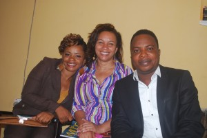 AGN National President, Ibinabo Fiberesima, middle; flanked by the new Cross River chapter chairperson, Monica Udofia, left; and the Director of Guild Services, DGS, Joe Omini to the right in a recent photograph when the AGN president visited Calabar
