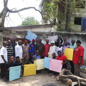 Protesting Cross Riverians at the Lagos liaison office this afternoon
