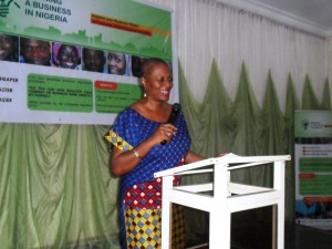 Mrs. Geraldine Oku, Manager GEMS3 Cross River State speaking during the dialogue