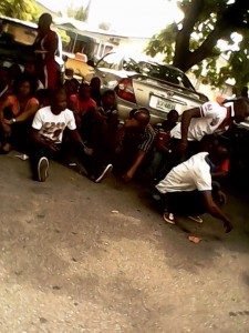 Some of the arrested Akansoko youths at the ministry premises