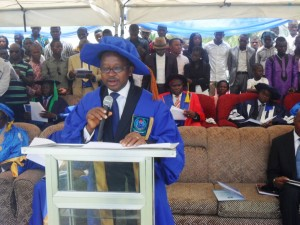 Dr. Ejue Bassey James, Provost of the College delivering his speech during the matriculation ceremony