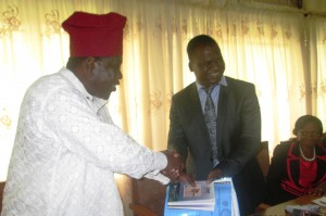Etubom Eno-Obong, former vice chancellor, CRUTECH handing over some to the new VC, Prof. Owan Enoh