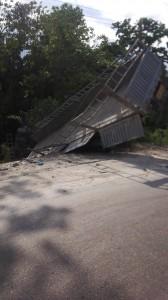 One of the crashed Dangote trucks