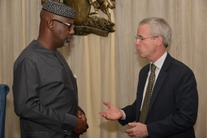 Cross River State Governor, Senator Liyel Imoke discussing some critical health issues with the Country Director, USAID, Mr Michael Harvey when the mission visited Government House, Calabar