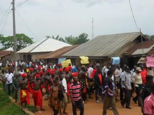 Senate Leader being welcomed by Apiapum community in Obubra