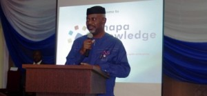 Governor Imoke speaking during the opening of the Tinapa Knowledge City in Calabar last year