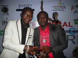 President, Student Union Government, Unical (left) and Mr. Jessy Ejemot (right) after the later received the Award of Excellence from the SUG in Calabar yesterday