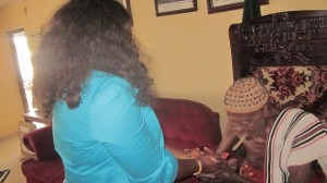 Abi Chairman 3 Hon Mrs Edith Amadi receiving royal blessing from the Obol lopon of Ugep