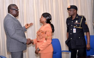 Cross River State Deputy Governor, Barr. Efiok Cobham Interacting with the Permanent Secretary, Ministry of Interior, Mrs. Fatima Binta Bamidele and the Controller General, Federal Fire Service, Engr. Olusegun Okebiorun shortly after a courtesy call in Governor's Office Calabar prior to the conference on the Implementation of the New Fire Service Code introduced by the Federal Government. Calabar
