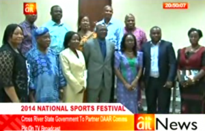 Mr. Patrick Ugbe, Cross River State Commissioner for Youth and Sports (center) and members of staff of AIT during his visit to the station in Abuja