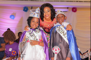 Queeneth Orok posing with winners of the pageant