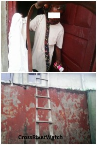 The first victim showing his shirt and belt they used to tie him and the touch light the thieves brought while the image below shows the ladder the thieves used to climb into Church of Christ still on their fence