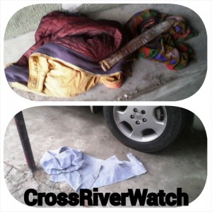 The left over clothes and machete shield the thieves left behind and the image below shows the piece Of cloth used to tie the Church of Christ security man