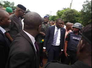 Governor Liyel Imoke at the scene of the accident