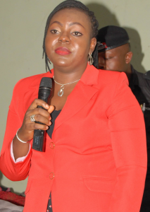 Mrs. Edith Amadi, Chairman, Abi LGA making a remark during the event