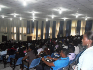 A cross section of freshers during the orientation