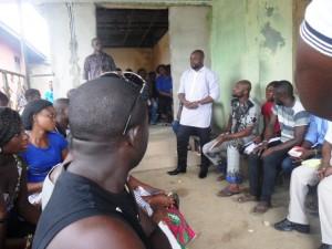 Mr. Ugbizi addressing youths in Calabar South