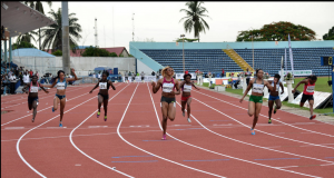 Blessing Okagbare leading others during the women's 100mtrs race which she finished at the time of 11.06, Gloria Asumnu and Sule Justina returning at the time of 11.17 and 11.65 to emerge 2nd and 3rd respectively at the ongoing Cross River State/All Nigerian Athletics Championship in Calabar