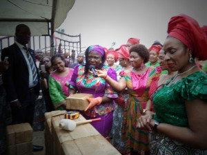 Mrs. Akon Eyakanyi, Minister for Lands and Urban Development, at the ground breaking ceremony of Brick Heritage Estate, the constituency project of Hon. Nkoyo Toyo  at Esuk Odot  yesterday in Calabar the Cross River State capital