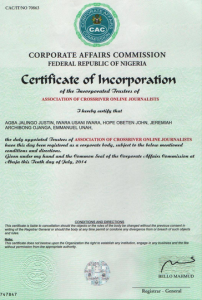 ACROJ Certificate of Incorporation