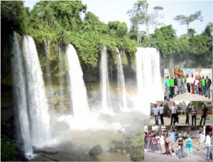 Tourists at the Agbokim Waterfalls in Etung LGA, Cross River State