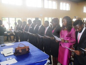 Cross section of the new CRUTECH SUG officials  taking oath of office