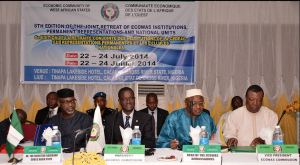 From left, Cross River State governor, Senator Liyel Imoke, President ECOWAS Commission, Mr. Kadre Desire Ouedraogo, Malian Ambassador to Nigeria and Dean ECOWAS Ambassadors, Mr. Mahamane  MaigaVice President of the Commission, Dr. Toga Gayewea McIntosh at the opening session of the 8th edition of the Joint Retreat of ECOWAS Institutions, Permanent Representatives and National Units, holding at the Tinapa Resort Calabar
