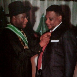 Goddy Jedy Agba receiving award as Officer of the Federal Republic from President Jonathan in Abuja last year