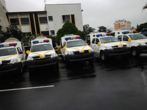 The five security vehicles donated by MTN