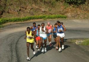 Athletes running at the Obudu International Mountain Race