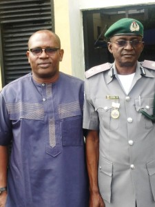Mr. Rekpene Bassey, Cross River State Security Adviser (left) and Mr. Atoyebi, Customs Comptroller in charge of Cross River and Akwa Ibom
