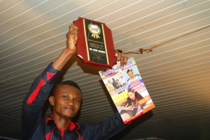 CrossRiverWatch Entertainment Editor, Akpet Obaji receiving the 'Media Man Of The Year' Award on behalf of Agba Jalingo, Publisher,  CrossRiverWatch