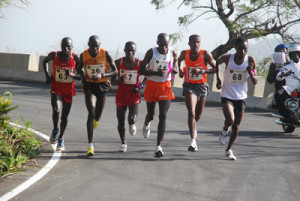 Runners at the Obudu International Mountain Race