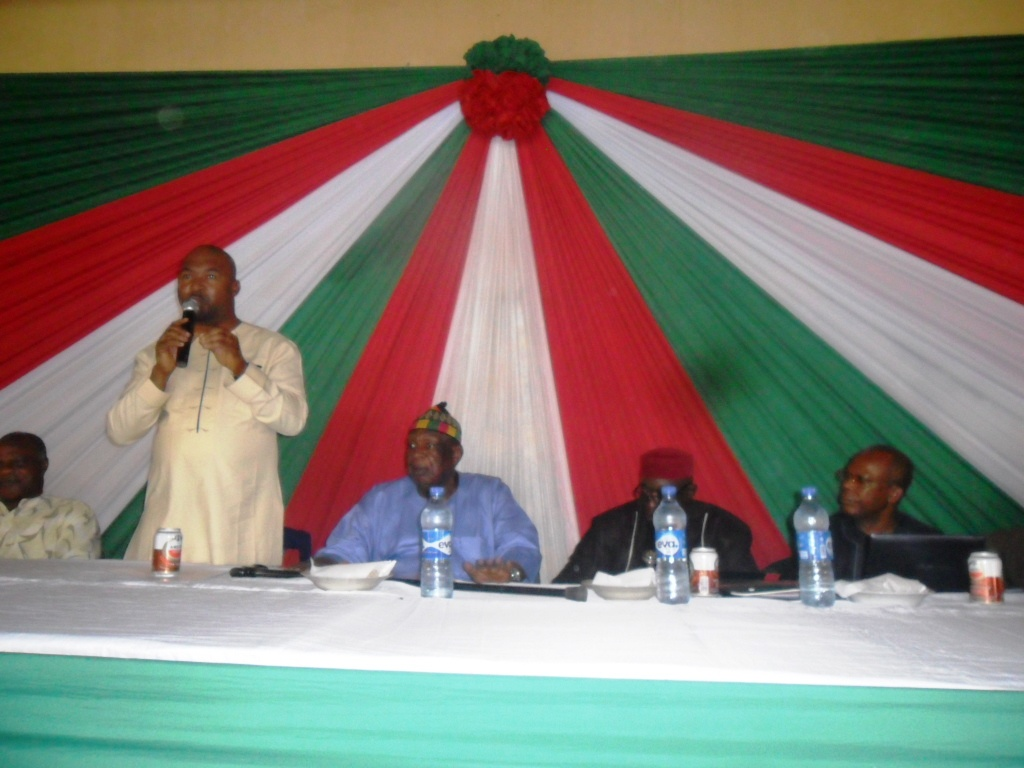 Mr. Tanko Ashang addressing members of the Cross River PDP northern caucus  in Ogoja