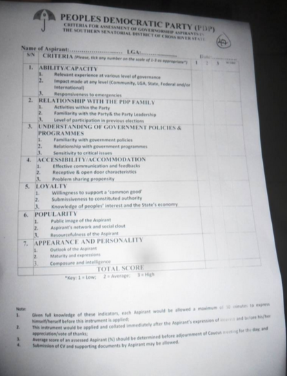 The controversial aspirants rating form