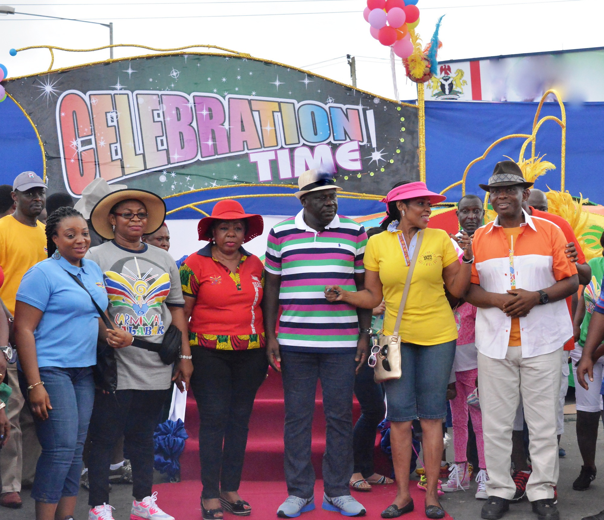 "From left, Wife of the Speaker, Cross River State House of Assembly, Mrs. Eneyi Odey, Mrs Gloria Cobham, Sen. Ita Giwa, Dep Governor Mr. Efiok Cobham, Mrs Obioma Imoke and Mr. Gershom Bassey, shortly after unveiling the 2014 and 10th Edition of Carnival Calabar theme, ""Celebration Time"" in Calabar, today"