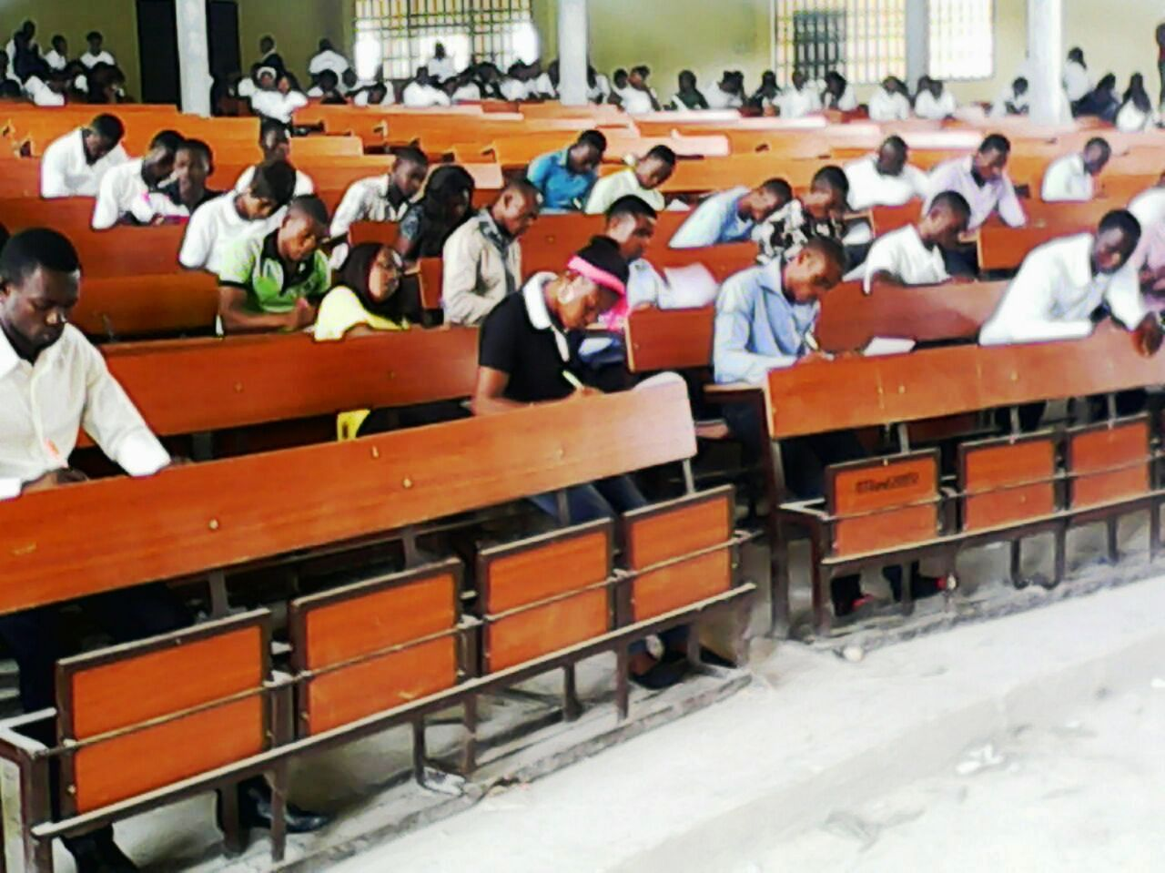 The intending COE Akamkpa Students Union leaders during the aptitude test