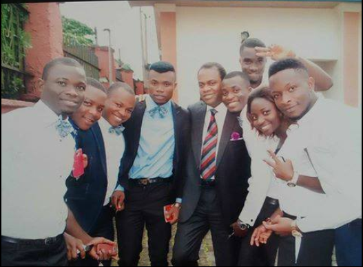 Former Cross River Governor, Donald Duke with the wedding grooms men