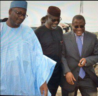 PDP National Chairman, Adamu Muazu, Governor Liyel Imoke and Hon. Emmanuel Ibeshi at the inspection of facilities at the Calabar International Convention Center