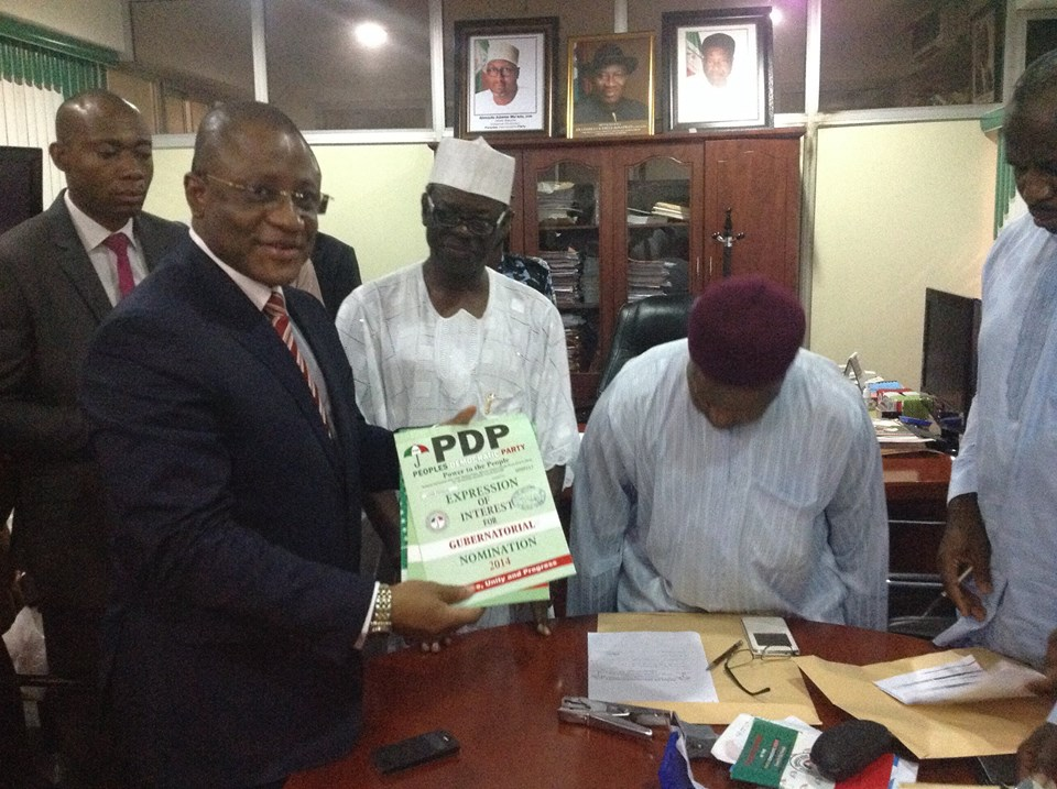 Hon. Emmanuel Ibeshi after picking his nomination form at the Wadata House, Abuja yesterday
