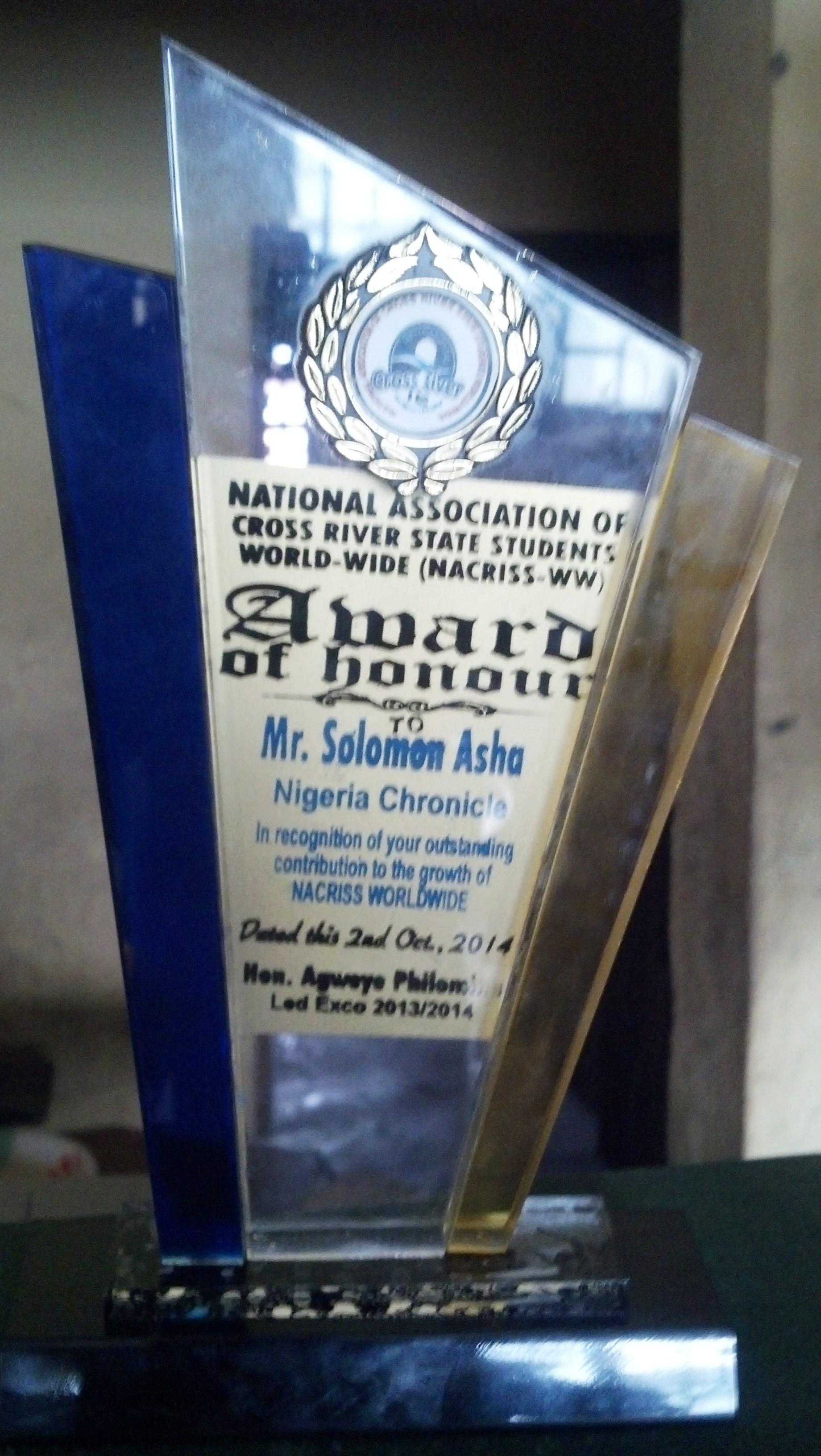 NACRISS-WW Award of Honor to Mr. Solomon Asha
