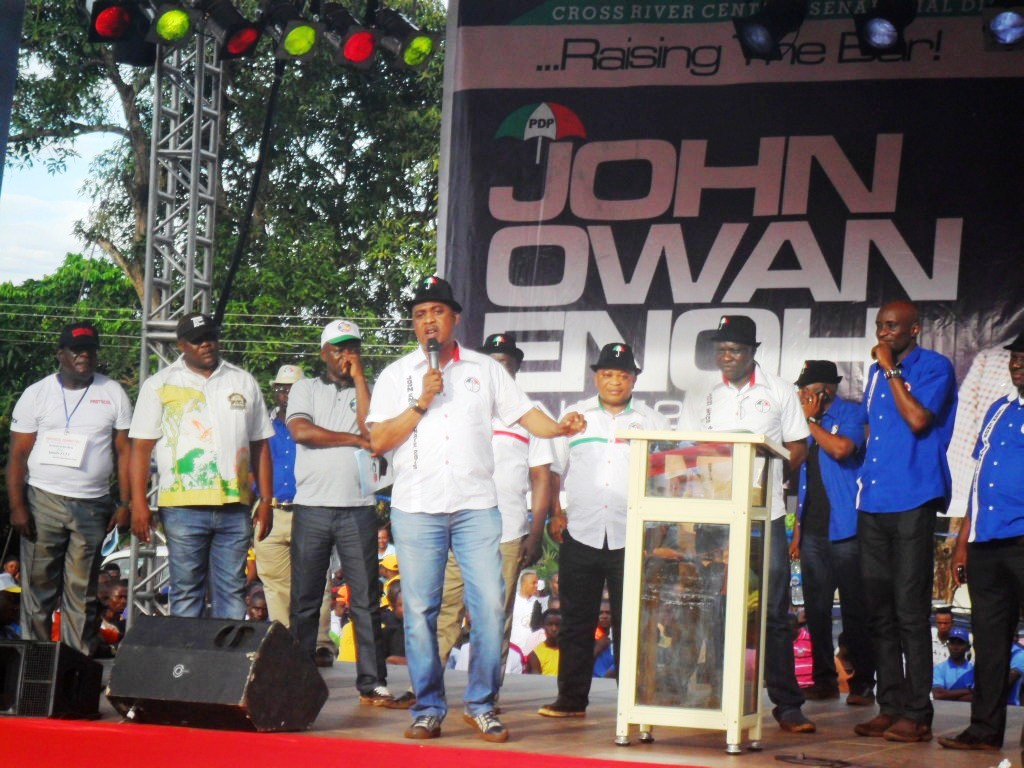 Hon. Bassey Ewa, Abi/Yakurr Federal Constituency leading members of the Cross River State House of Assembly to declare their support for Owan Enoh yesterday